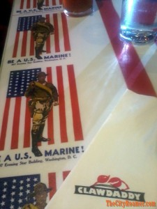 American-themed table at ClawDaddy Harbor Point