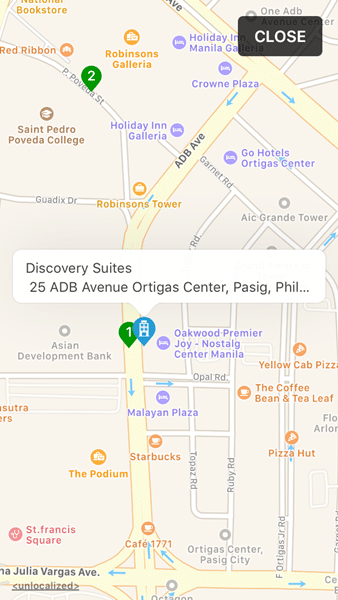 The Map Section of Discovery Suites on Traveloka