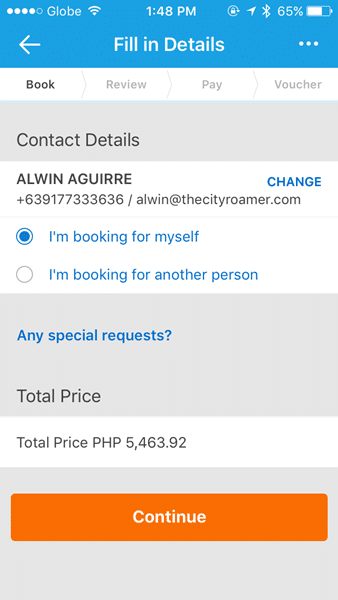Contact Details on the Traveloka App