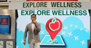 Tonipet Gaba hosting the Robinsons Supermarket Explore Wellness event at Eastwood Mall Open Park