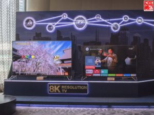 The AQUOS XU Series 4K TV Powered by Android TV on display at the Sharp Product Launch 2017