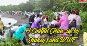 A coastal clean-up by Shakey's and WWF