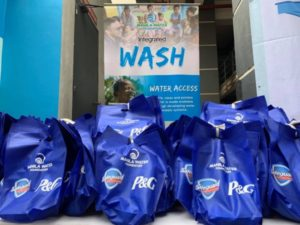 Hygiene kits containing Safeguard products were distributed during the inauguration of the handwashing facilities